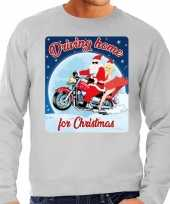 Lelijke kerstborrel trui kersttrui driving home for christmas grijs motorrijders heren