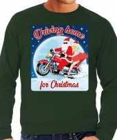 Lelijke kerstborrel trui kersttrui driving home for christmas groen motorrijders heren