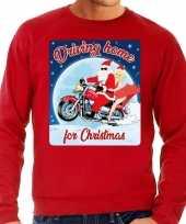Lelijke kerstborrel trui kersttrui driving home for christmas rood motorrijders heren