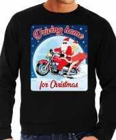 Lelijke kerstborrel trui kersttrui driving home for christmas zwart motorrijders heren