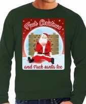 Lelijke kerstborrel trui kersttrui fuck christmas and fuck santa too groen heren