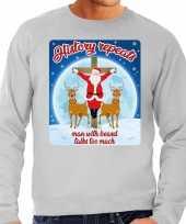 Lelijke kerstborrel trui kersttrui history repeats grijs heren
