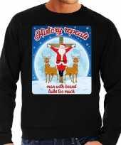 Lelijke kerstborrel trui kersttrui history repeats zwart heren