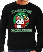 Lelijke kerstborrel trui kersttrui ho ho ho doordrinken biertje zwart heren