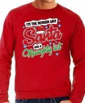 Lelijke kerstborrel trui kersttrui kerstman stoute ondeugende lijst rood heren