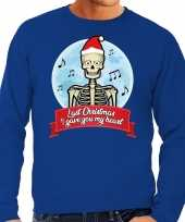 Lelijke kerstborrel trui kersttrui last christmas i gave you my heart skelet blauw heren