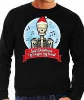 Lelijke kerstborrel trui kersttrui last christmas i gave you my heart skelet zwart heren