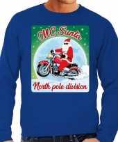 Lelijke kerstborrel trui kersttrui mc santa motorrijders blauw heren