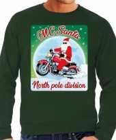 Lelijke kerstborrel trui kersttrui mc santa motorrijders groen heren