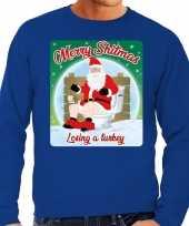 Lelijke kerstborrel trui kersttrui merry shitmas blauw heren