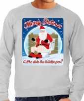 Lelijke kerstborrel trui kersttrui merry shitmas grijs heren