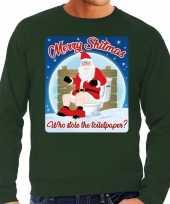 Lelijke kerstborrel trui kersttrui merry shitmas groen heren 10172411