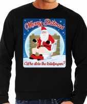 Lelijke kerstborrel trui kersttrui merry shitmas zwart heren
