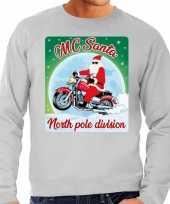 Lelijke kerstborrel trui kersttrui motorrijders mc santa grijs heren