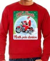 Lelijke kerstborrel trui kersttrui motorrijders mc santa rood heren