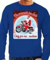 Lelijke kerstborrel trui kersttrui no presents for kids blauw motorrijders heren