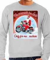 Lelijke kerstborrel trui kersttrui no presents for kids grijs motorrijders heren
