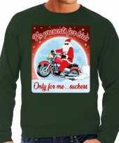 Lelijke kerstborrel trui kersttrui no presents for kids groen motorrijders heren