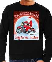 Lelijke kerstborrel trui kersttrui no presents for kids zwart motorrijders heren