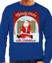 Lelijke kerstborrel trui kersttrui nobody fucks with sinterklaas blauw heren