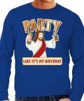 Lelijke kerstborrel trui kersttrui party jezus blauw heren