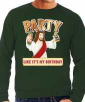 Lelijke kerstborrel trui kersttrui party jezus groen heren