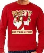 Lelijke kerstborrel trui kersttrui party jezus rood heren