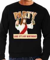 Lelijke kerstborrel trui kersttrui party jezus zwart heren