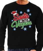 Lelijke kerstborrel trui kersttrui santa hates vegans zwart heren
