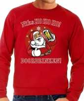 Lelijke kerstborrel trui kersttrui zuipende kerstman niks ho ho ho doordrinken rood rode tekst heren