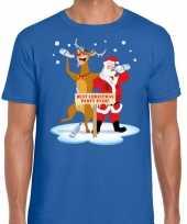 Lelijke kerstmis trui blauw een dronken kerstman rudolf heren