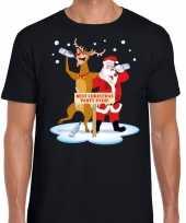 Lelijke kerstmis trui zwart een dronken kerstman rudolf heren