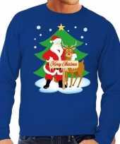 Lelijke kersttrui blauw kerstman rudolf heren