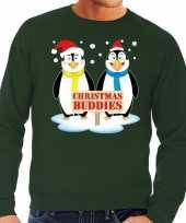 Lelijke kersttrui groen pinguins heren