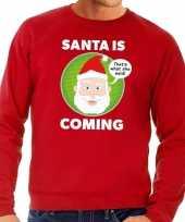 Lelijke kersttrui rood santa is coming heren