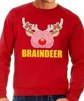 Lelijke kersttrui sweater braindeer rood heren