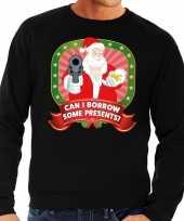 Lelijke kersttrui zwart kerstman pistool can i borrow some presents heren