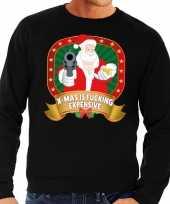 Lelijke kersttrui zwart kerstman pistool heren 10125387