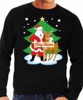 Lelijke kersttrui zwart kerstman rudolf heren