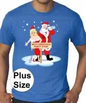 Plus size fout kerstborrel trui kerst trui best christmas party ever blauw heren