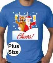 Plus size fout kerstborrel trui kerst trui drunk santa blauw heren