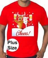 Plus size fout kerstborrel trui kerst trui drunk santa rood heren