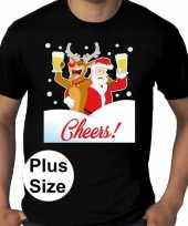 Plus size fout kerstborrel trui kerst trui drunk santa zwart heren