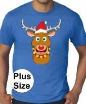 Plus size fout kerstborrel trui kerst trui rudolf rendier blauw heren