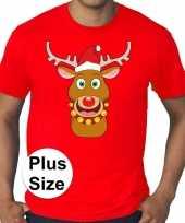 Plus size fout kerstborrel trui kerst trui rudolf rendier rood heren
