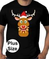 Plus size fout kerstborrel trui kerst trui rudolf rendier zwart heren
