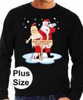 Plus size lelijke kerstborrel trui kersttrui best christmas party ever zwart heren