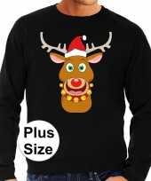 Plus size lelijke kerstborrel trui kersttrui rudolf rendier zwart heren