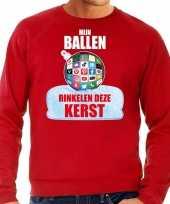 Rode kersttrui kerstkleding mijn ballen rinkelen deze kerst heren social media kerstbal