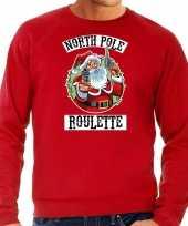 Rode kersttrui kerstkleding northpole roulette heren grote maten